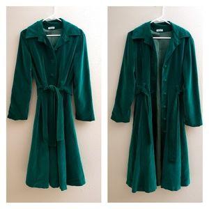 vintage green velvet Marguerite Rubel coat M